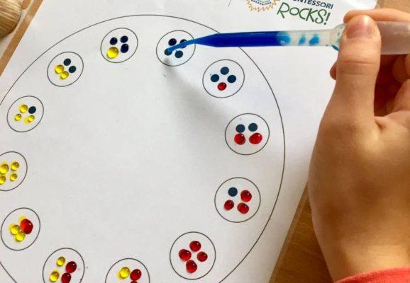 pipety a kvapkanie farby na farebný kruh
