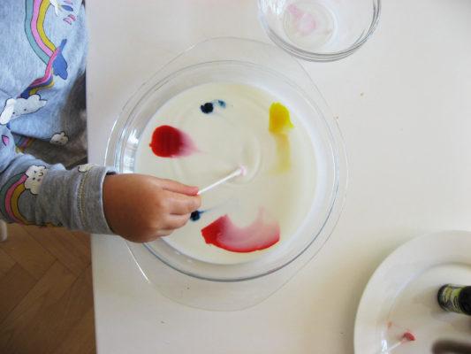 Po tom, ako sa palička dotkne povrchu mlieka, začnú sa rozpíjať farby